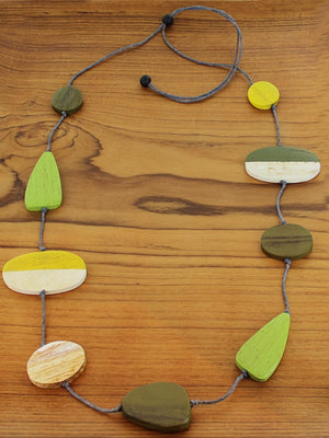 Long Mixed Shape Two-Tone Wooden Necklace