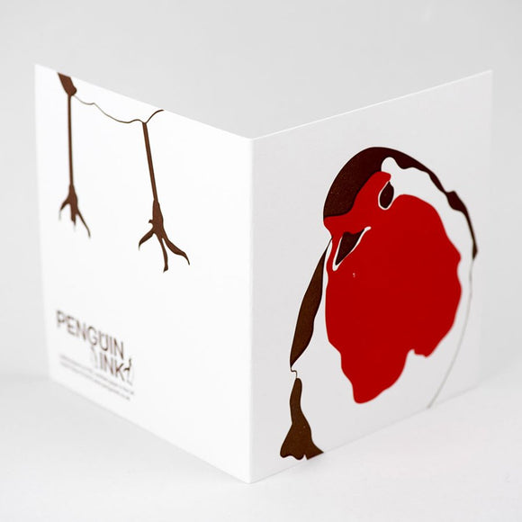 Robin Hand Letterpress Christmas Card