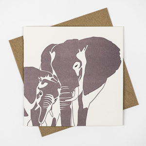 Elephant & Baby Hand Letterpress Greeting Card / Birthday