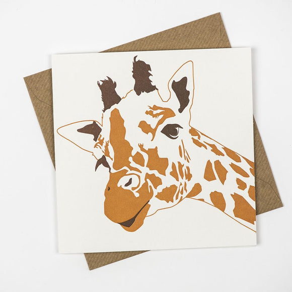 Giraffe Hand Letterpress Greeting / Birthday Card