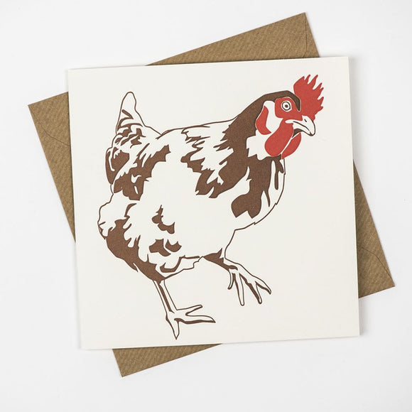 Chicken Hand Letterpress Greeting / Birthday Card