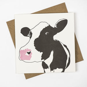 Dairy Cow Hand Letterpress Greeting Card