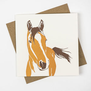 Horse Hand Letterpress Greeting Card