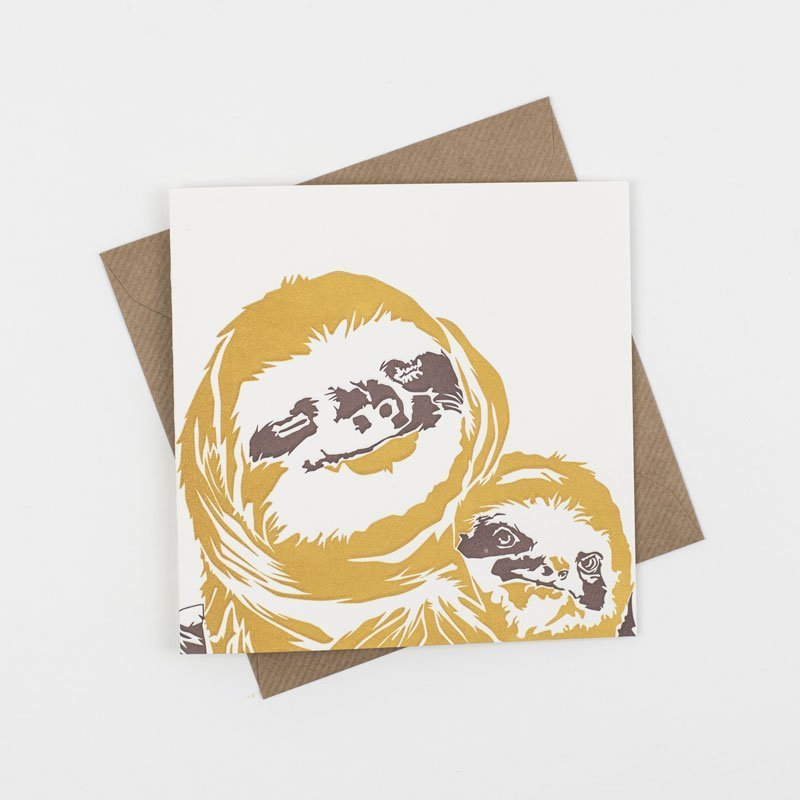 Sloth Mummy Cuddles Hand Letterpress Greeting Card