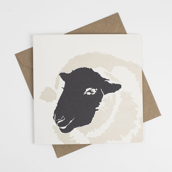 Suffolk Sheep Hand Letterpress Greeting Card