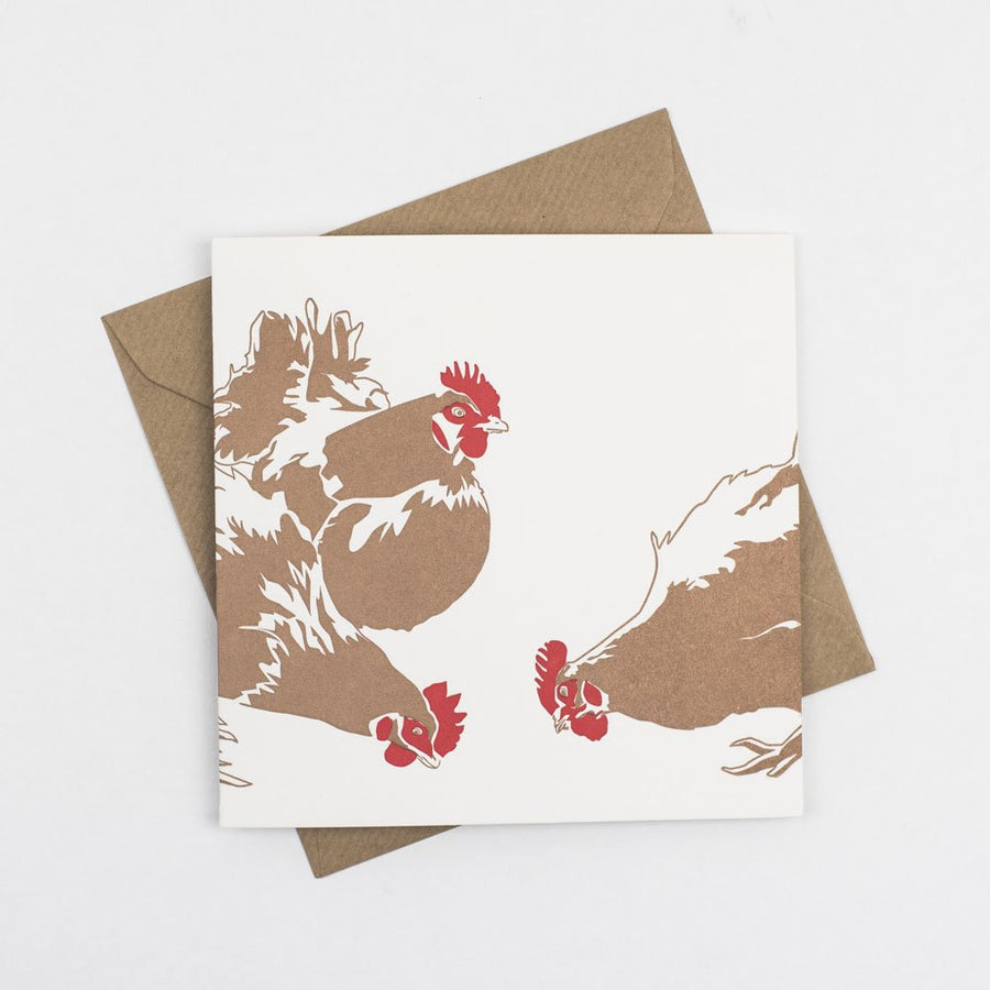 Three French Hens Hand Letterpress Christmas Card