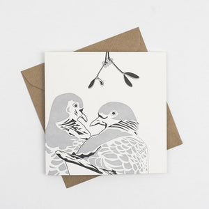 Two Turtle Doves Hand Letterpress Christmas Card