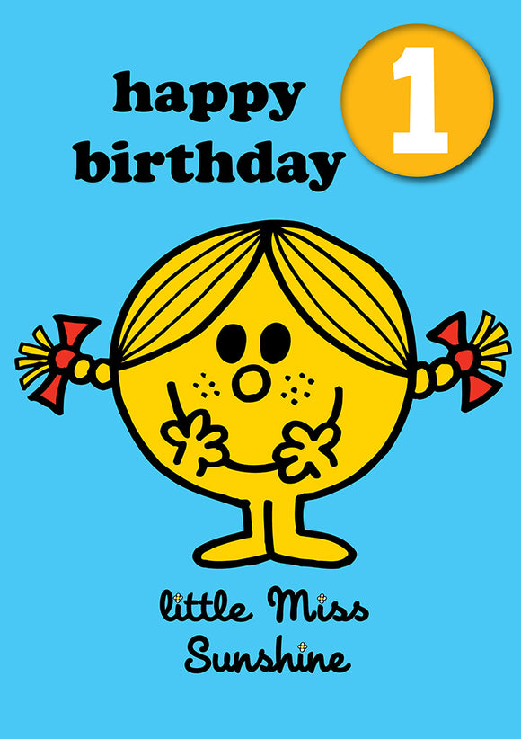 Happy Birthday 1, With Safe Pin Badge, Little Miss Sunshine Mr Men / Little Miss 1st Birthday Card