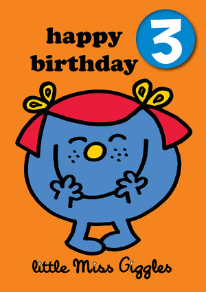 Happy Birthday 3, With Safe Pin Badge, Little Miss Giggles Mr Men / Little Miss 3rd Birthday Card