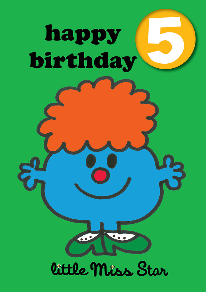 Happy Birthday 5, With Safe Pin Badge, Little Miss Star Mr Men / Little Miss 5th Birthday Card