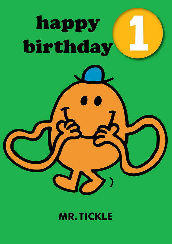 Happy Birthday 1, With Safe Pin Badge, Mr Tickle Mr Men / Little Miss 1st Birthday Card