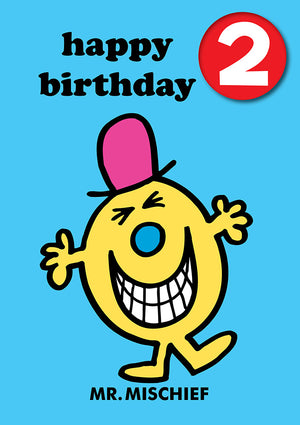 Happy Birthday 2, With Safe Pin Badge, Mr Mischief Mr Men / Little Miss 2nd Birthday Card
