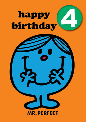 Happy Birthday 4, With Safe Pin Badge, Mr Perfect Mr Men / Little Miss 4th Birthday Card
