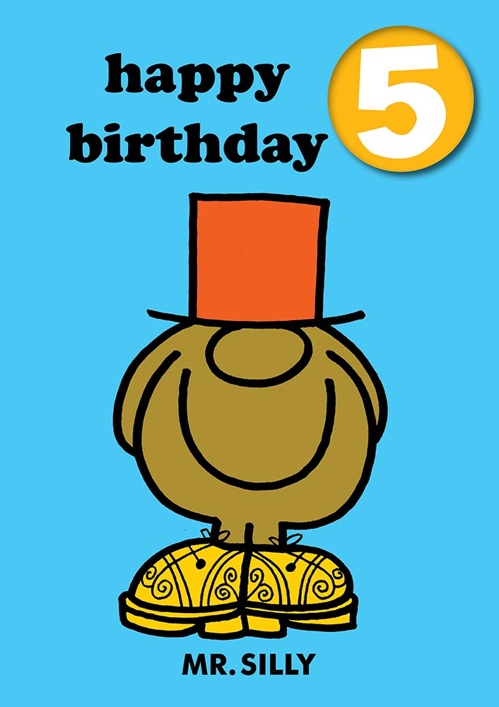 Happy Birthday 5, With Safe Pin Badge, Mr Silly Mr Men / Little Miss 4th Birthday Card