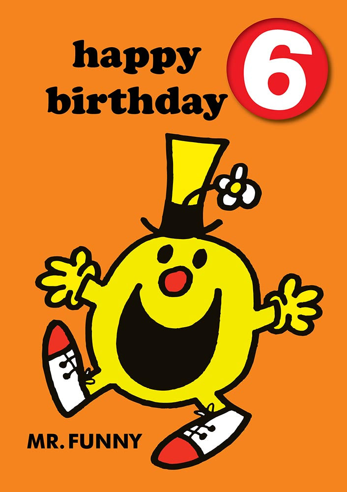 Happy Birthday 6, With Safe Pin Badge, Mr Funny Mr Men / Little Miss 6th Birthday Card