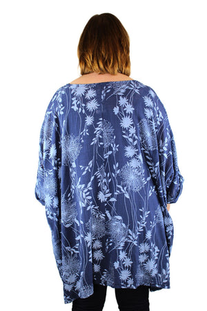 Made In Italy Floral Linen Floaty Top