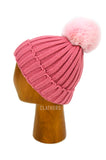 Ladies Pink Winter Knitted Beanie Detachable Faux Fur Bobble Pom Pom Hat