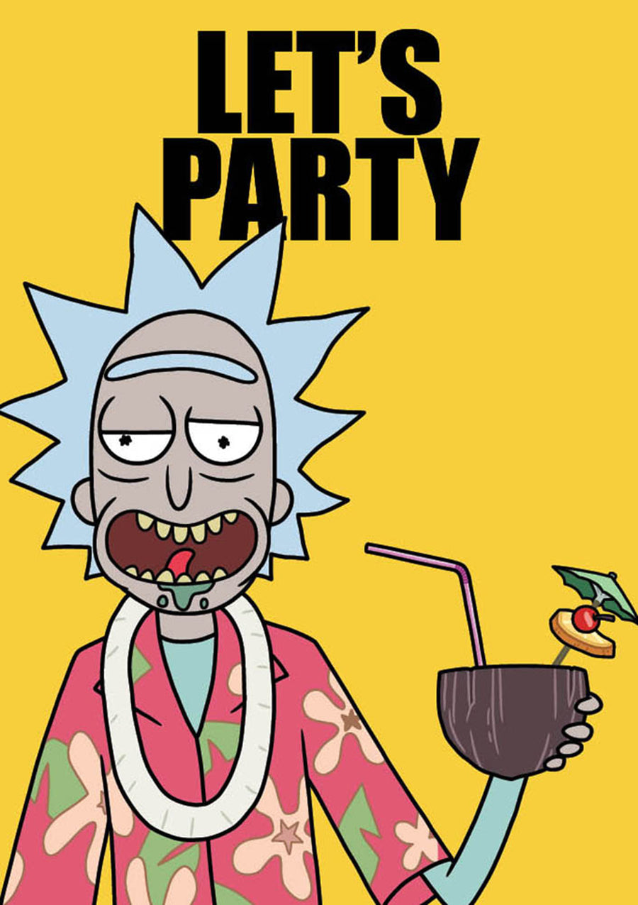 Let's Party Rick And Morty Birthday Card