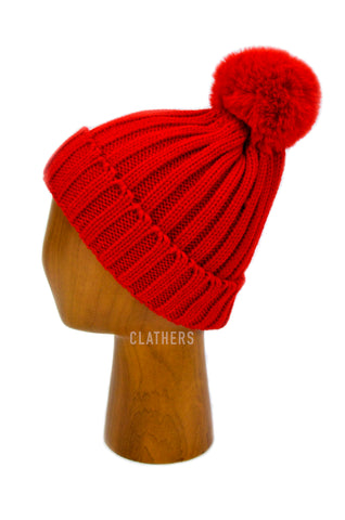Ladies Red Winter Knitted Beanie Detachable Faux Fur Bobble Pom Pom Hat