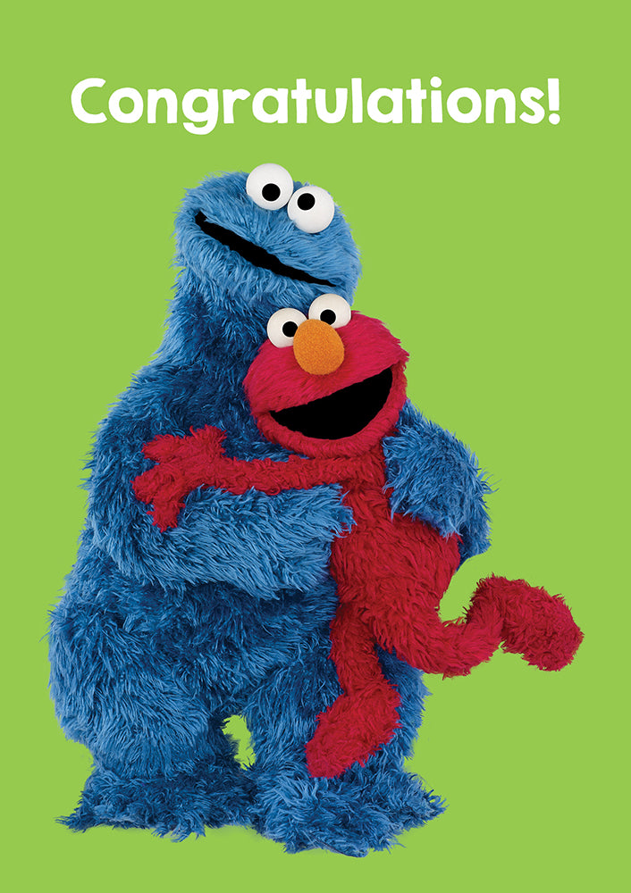 Congratulations Cookie Monster & Elmo  Sesame Street Greeting Card