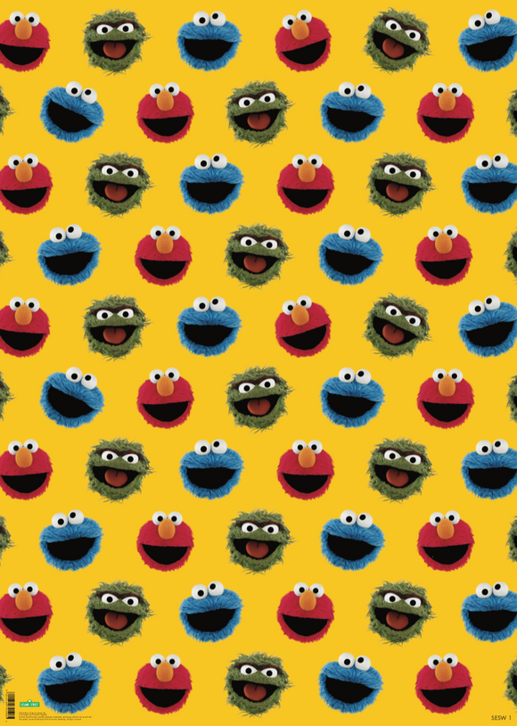 Elmo / Cookie Monster / Oscar The Grouch Sesame Street Gift Wrap Wrapping Paper