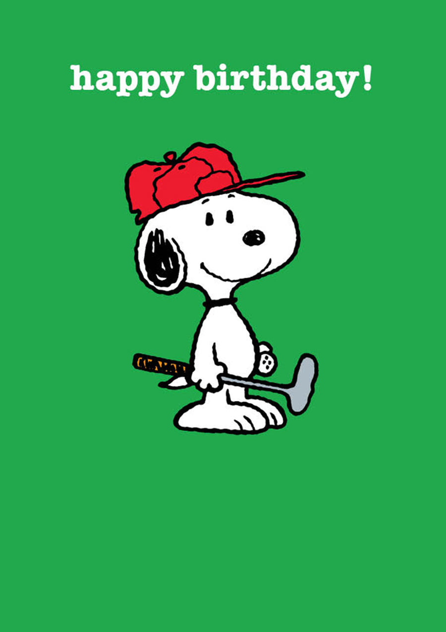 Snoopy Golf Happy Birthday Card