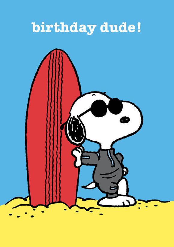 Snoopy Surfing Happy Birthday Card