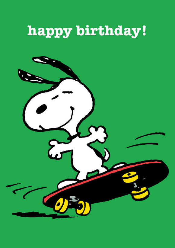 Snoopy Skateboard Happy Birthday Card