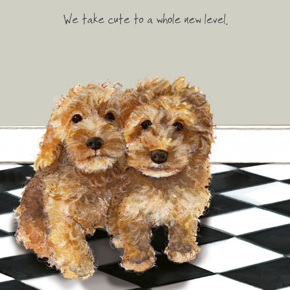 Cockapoo Puppies Dog (We take cute to a whole new level.) Greeting / Birthday Card