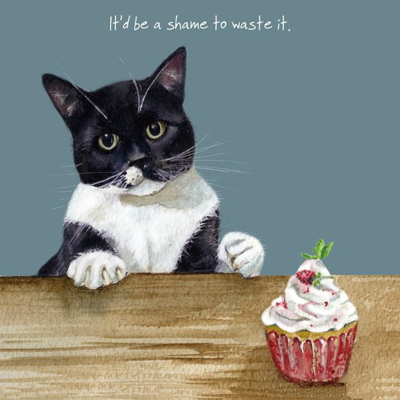 Black & White Cat (It'd be a shame to waste it.) Greeting / Birthday Card