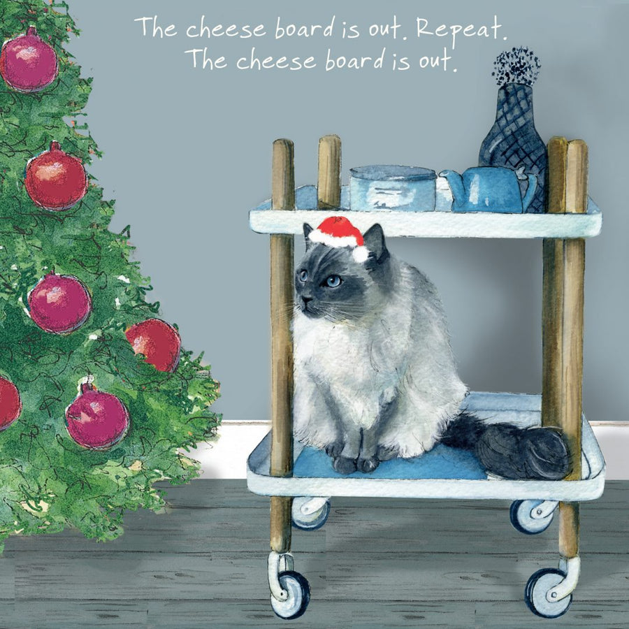 Ragdoll Cat (The cheese board is out. Repeat. The cheese board is out.) Christmas Card