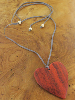 Suede Necklace With Wooden Heart Pendant