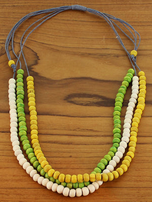 Short 3 Strand Wooden Bead Necklace