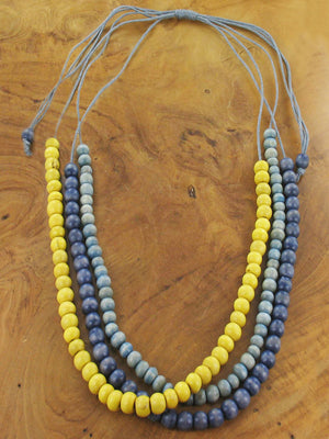 3 Strand Wooden Bead Necklace