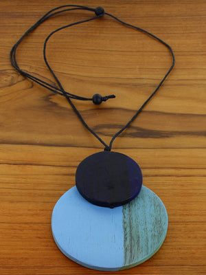 Wooden Double Disc Pendant Adjustable Necklace