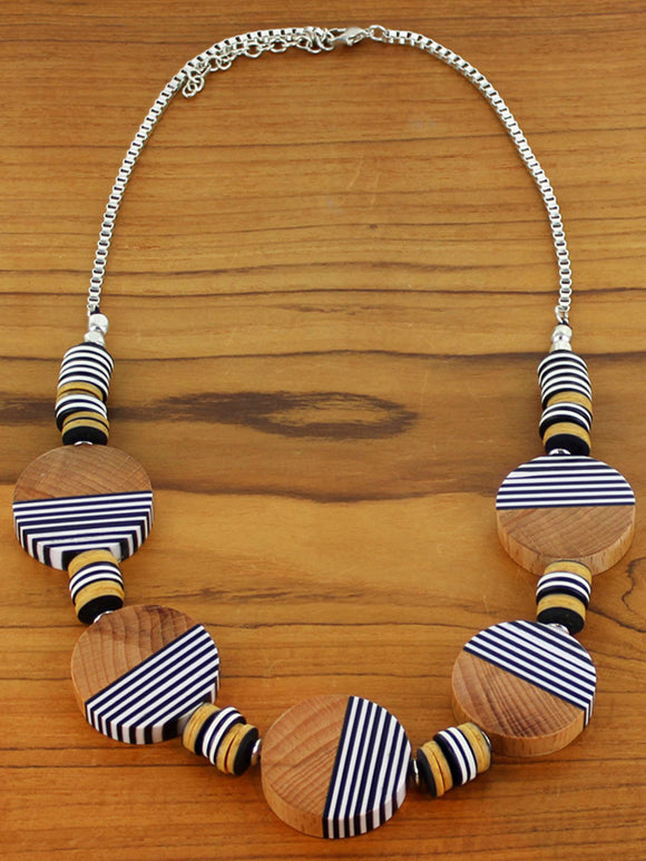 Striped Resin & Wood Disc Necklace Black
