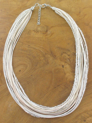 Multi-Strand Ivory & Silver Wire Necklace