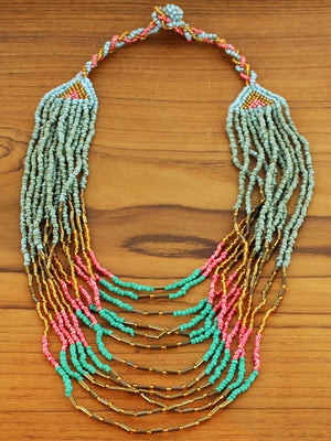 Short Multi-Strand Beaded Necklace
