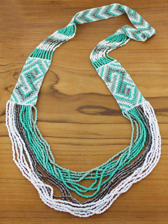 Long Multi-Strand Aztec Necklace