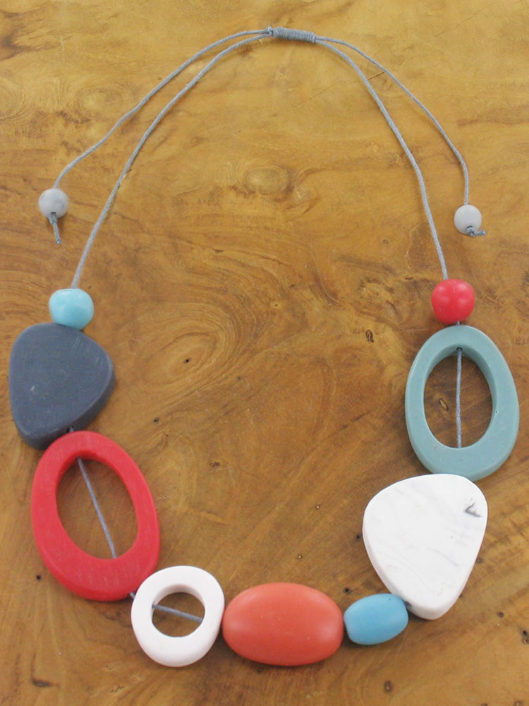 Short Mixed Shape Resin Adjustable Necklace