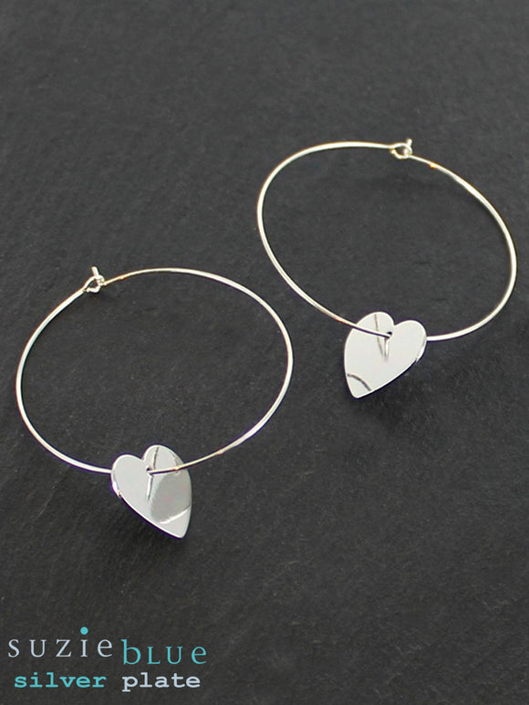 Simple Hoop With Heart Silver Plated Charm Earrings