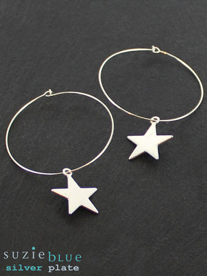 Simple Hoop With Star Silver Plated Star Earring