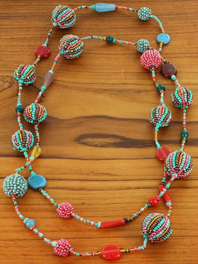 Long Beaded Ball Necklace