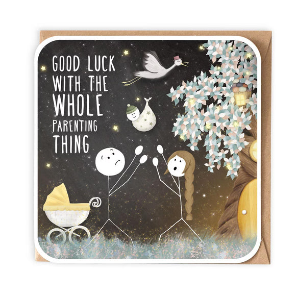 Good Luck With The Whole Parenting Thing New Baby Card