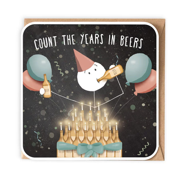Count The Years In Beers Birthday Card