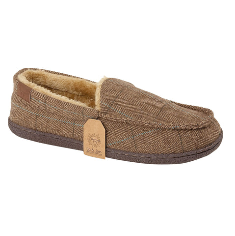 Mens Suede Sheepskin Faux Fur Wool Fleece Lined Tweed Moccasin Slippers