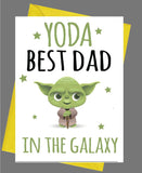 Yoda Best Dad In The Galaxy Birthday / Fathers Day Card