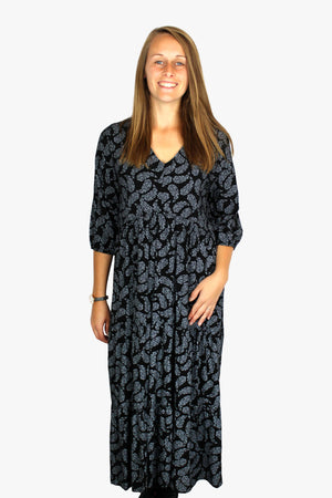 Made In Italy Paisley Print Long Tiered Dress