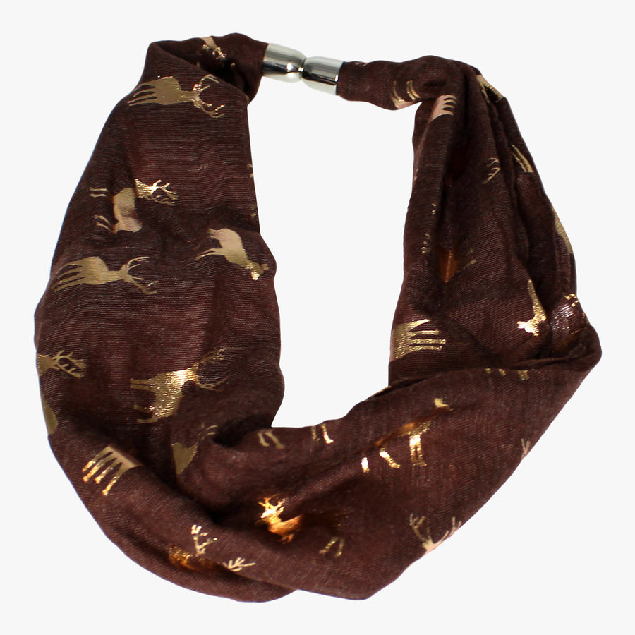 Foil Stag Print Magnetic Scarf
