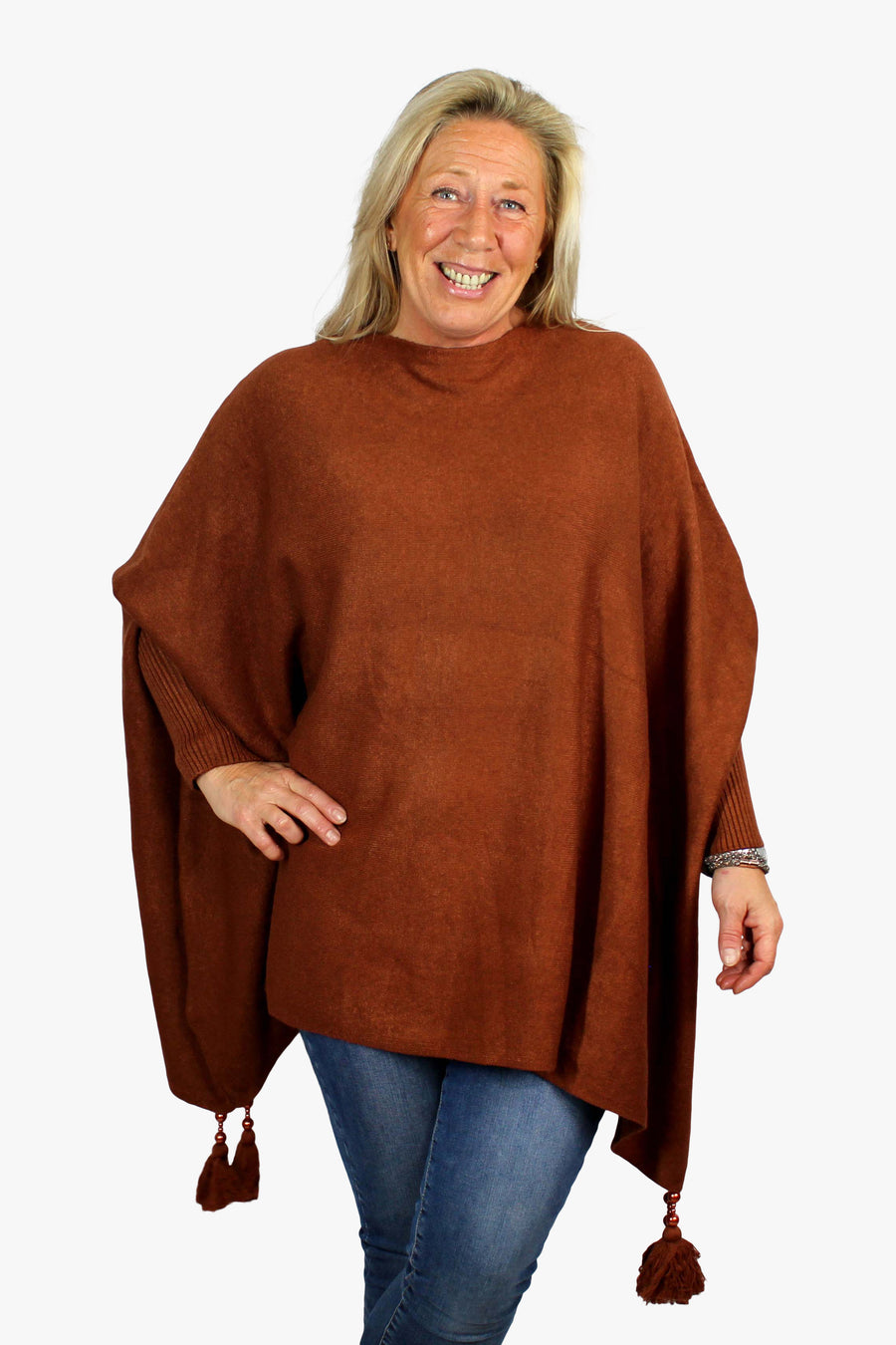 Made In Italy Poncho Jumper with Tassels
